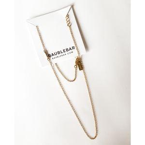 Gold Long Layering Side Bar Necklace BaubleBar